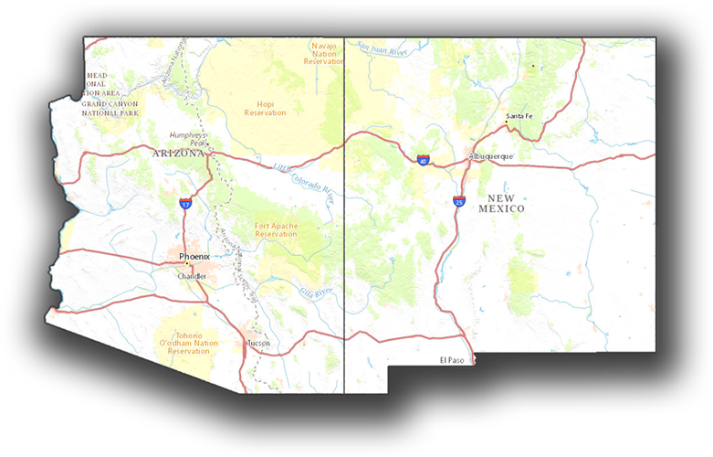 AZ NM Map